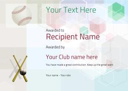 baseball certificate award with bats Image
