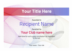 baseball certificate awards with themed watermarked Image