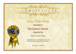 Free certificate templates simple to use add printable badges blank certificate template rosette image yadclub Images