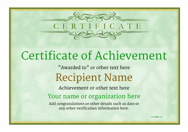 certificate-of-achievement-template-award-classic-style-1-green-blank Image