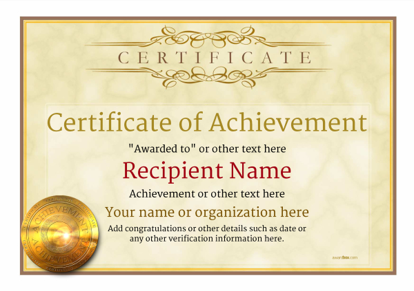 Attractive Certificate Of Achievement Template Award Classic Style 1   Free Achievement Certificates