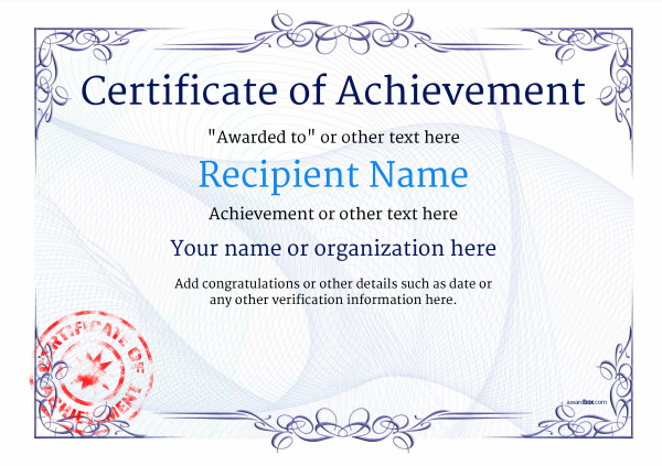 Nice Certificate Of Achievement Template Award Classic Style 2  Pertaining To Certificate Of Achievement Template