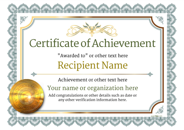 Certificate Of Achievement Template Award Classic Style 3   Certificate Of Achievement Template