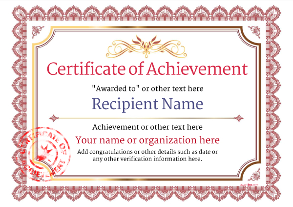 certificate-of-achievement-template-award-classic-style-3-red-stamp Image