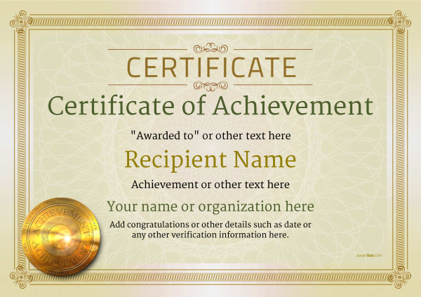 certificate-of-achievement-template-award-classic-style-4-default-medal Image