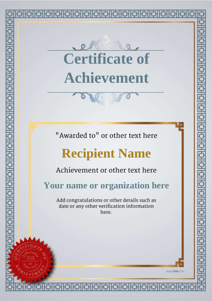 certificate-of-achievement-template-award-classic-style-5-default-seal Image
