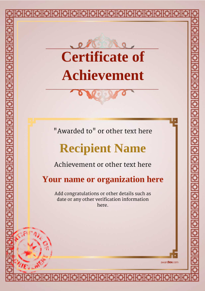 certificate-of-achievement-template-award-classic-style-5-red-stamp Image