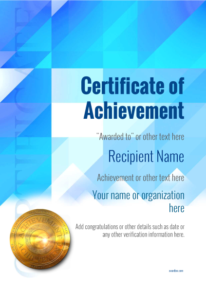 certificate-of-achievement-template-award-modern-style-2-blue-medal Image