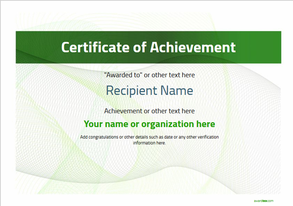 certificate-of-achievement-template-award-modern-style-3-green-blank Image