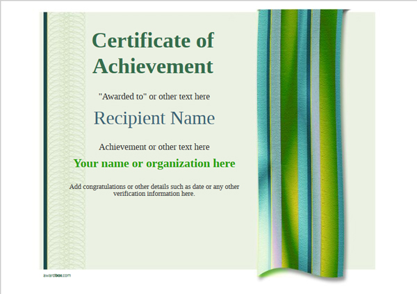 certificate-of-achievement-template-award-modern-style-4-green-blank Image
