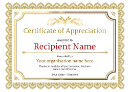 Certificate of Appreciation and Thank You - Free and Simple to Use