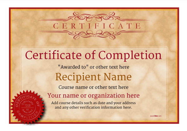 Certificate Of Completion Template Award Classic Style 1   Certificate Of Completion Free Template