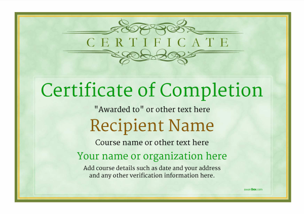 Lovely Certificate Of Completion Template Award Classic Style 1  Pertaining To Certificate Of Completion Free Template