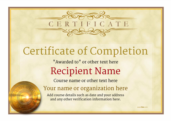 Certificate Of Completion Template Award Classic Style 1   Certificate Of Completion Template Free Download
