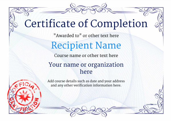 Free Certificate Of Completion Pertaining To Certificate Of Completion Template Free