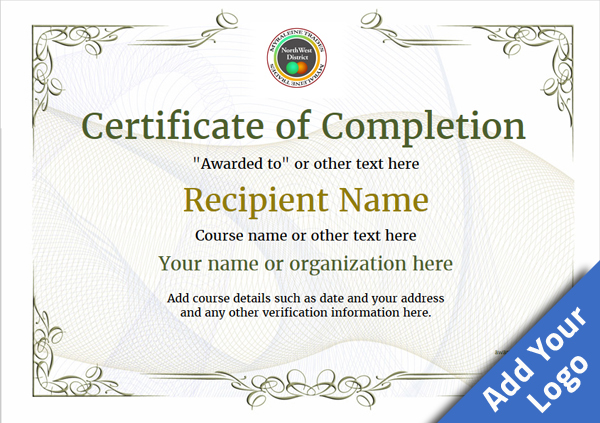 Certificate of completion free quality printable for Certificate of accomplishment template