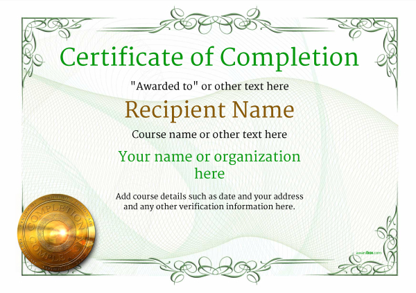 Certificate of completion free quality printable templates free certificate of completion yadclub Choice Image