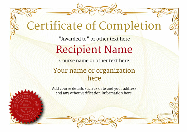 Certificate Of Completion Template Award Classic Style 2   Blank Certificates Of Completion