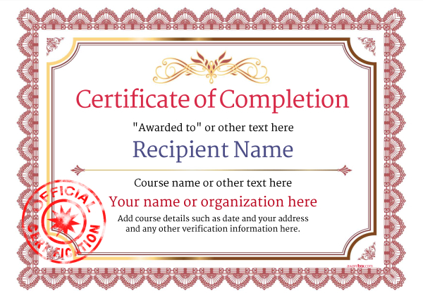 certificate of completion templates