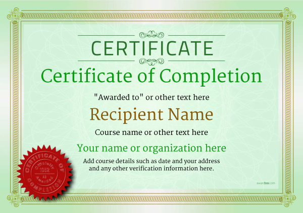 Certificate of completion free quality printable templates certificate of completion template award classic style 4 yadclub Choice Image
