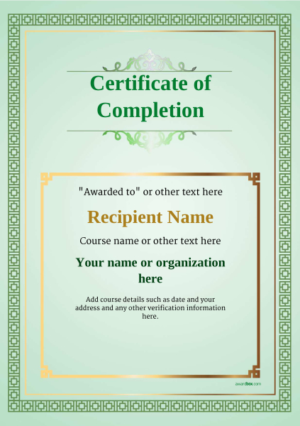 Certificate of completion free quality printable templates certificate of completion template award classic style 5 yadclub Choice Image