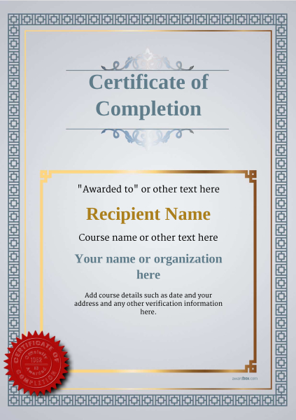 Certificate of completion free quality printable templates certificate of completion template award classic style 5 yelopaper Gallery