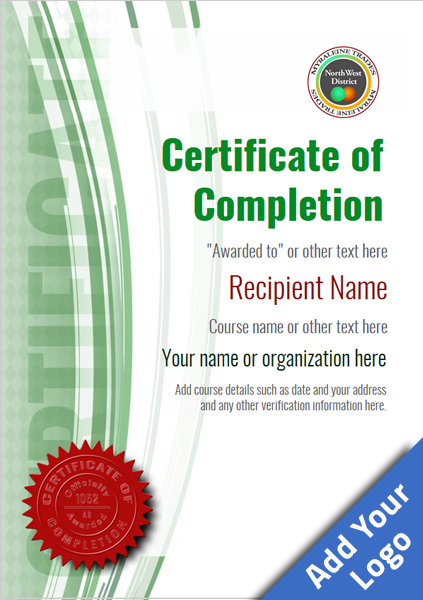 certificate-of-completion-template-award-modern-style-1-green-seal Image