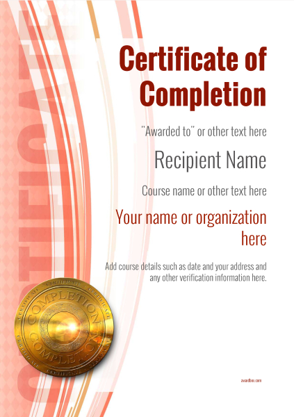 certificate-of-completion-template-award-modern-style-1-red-medal Image