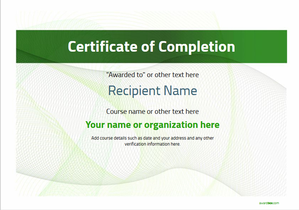 certificate-of-completion-template-award-modern-style-3-green-blank Image