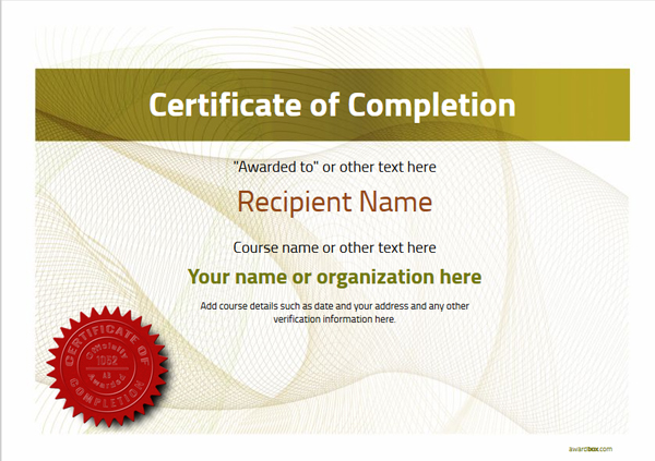 certificate-of-completion-template-award-modern-style-3-yellow-seal Image