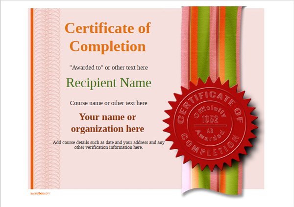 certificate-of-completion-template-award-modern-style-4-red-seal Image