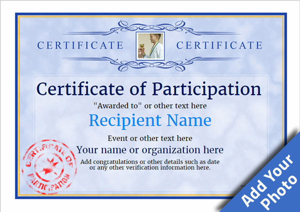 Amazing Certificate Of Participation Template Award Classic Style 1   Certificate Of Participation Free Template