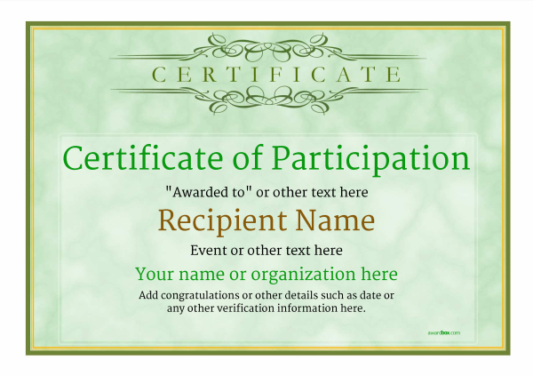 Participation certificate templates free printable add badges certificate of participation template award classic style 1 yadclub Gallery