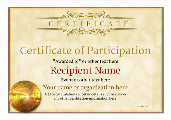Awesome Certificate Of Participation Template Award Classic Style 1  To Certificate Of Participation Template