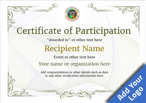 Certificate Of Participation Template Award Classic Style 2   Printable Certificate Of Participation