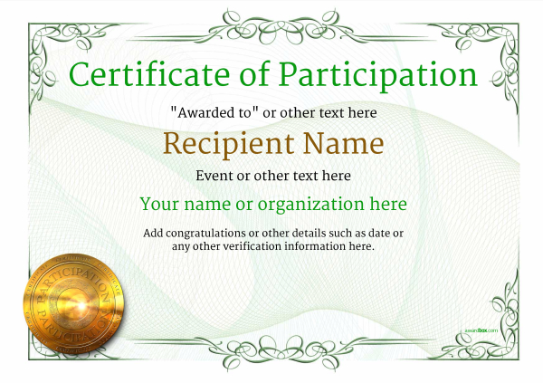 Certificate Of Participation Template Award Classic Style 2   Certificate Of Participation Template