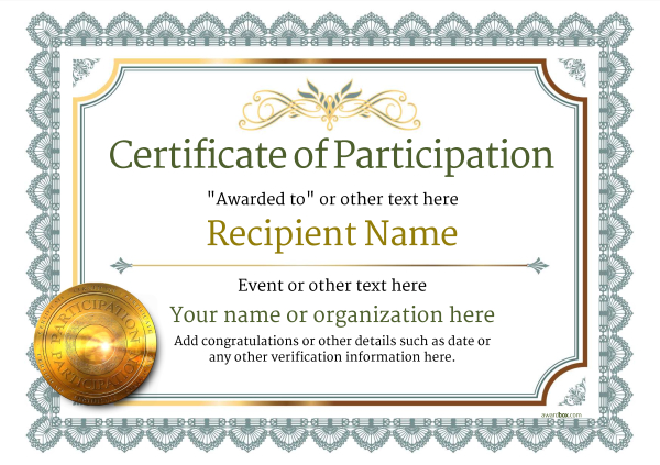 Certificate Of Participation Template Award Classic Style 3   Free Certificate Of Participation Template