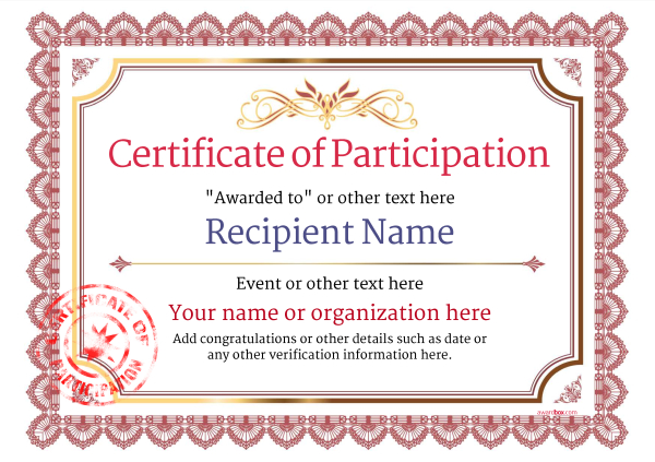 Participation certificate templates free printable add for Certification of participation free template
