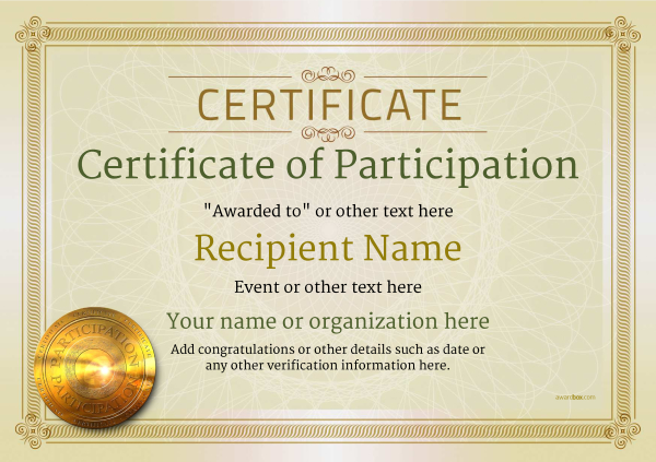 Certificate Of Participation Template Award Classic Style 4   Design Of Certificate Of Participation