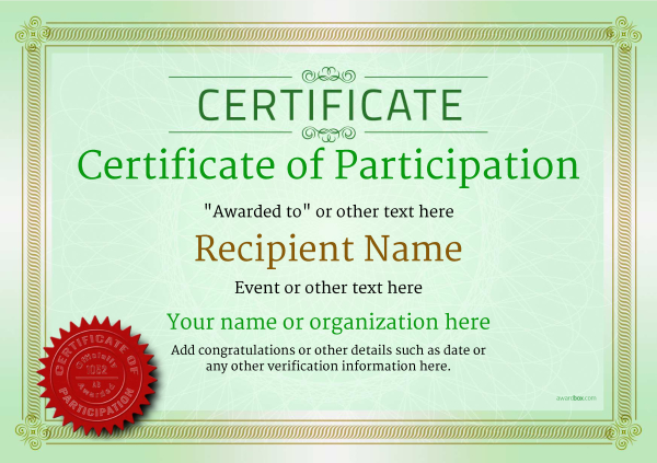Certificate Of Participation Template Award Classic Style 4   Printable Certificate Of Participation