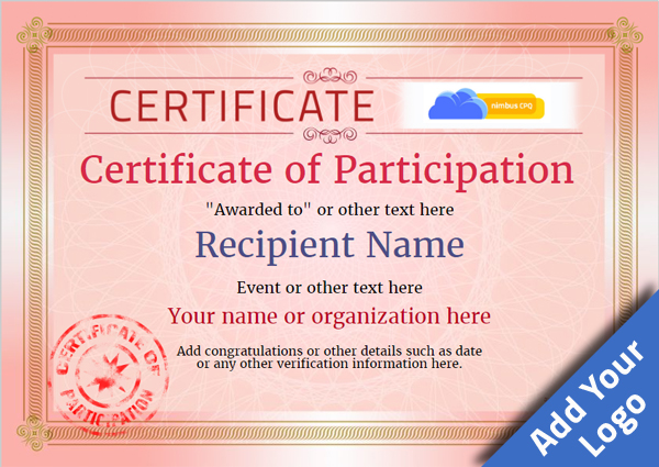 Certificate Of Participation Template Award Classic Style 4   Certificate Of Participation Free Template