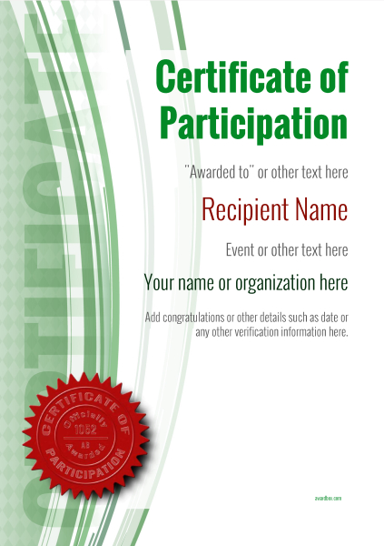 certificate-of-participation-template-award-modern-style-1-green-seal Image