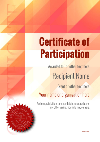 certificate-of-participation-template-award-modern-style-2-red-seal Image