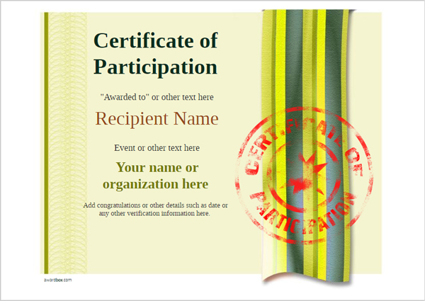 certificate-of-participation-template-award-modern-style-4-yellow-stamp Image