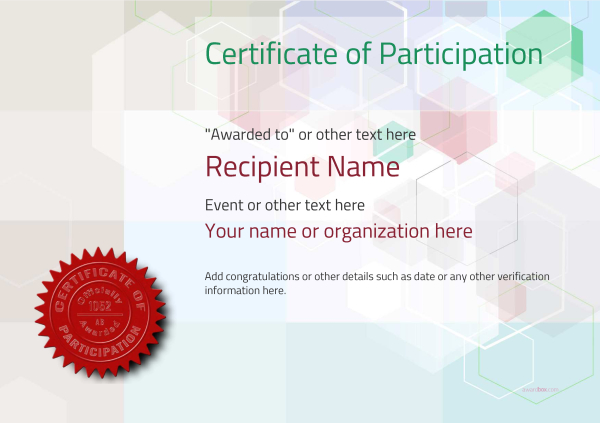 Participation Certificate Templates  Free Printable Great