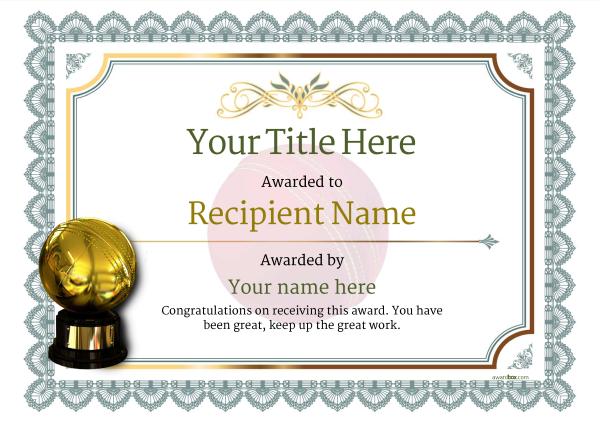 cricket trophy certificate template Image