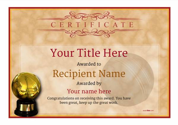 printable cricket certificate template Image