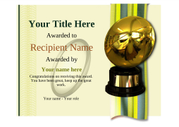 rugby trophy certificate template Image