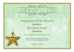 Employee Of The Month Certificate Free Well Designed