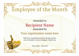 Elegant Vintage2 Yellow_employee Thumb Image  Free Employee Of The Month Certificate Template